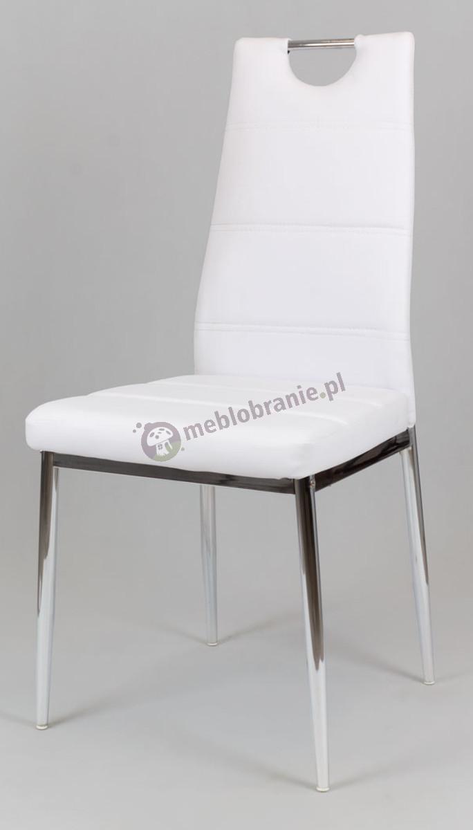 Białe Krzesło z Ekoskóry na Chromowanym Stelażu KS017