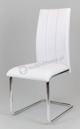 Białe krzesło na chromowanych nogach KS016