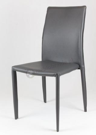 Krzesło z ekoskóry z obszytym stelażem szare KS011