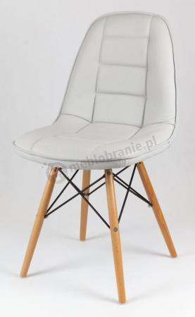 Krzesło z ekoskóry na drewnianych nogach KS009 Szare