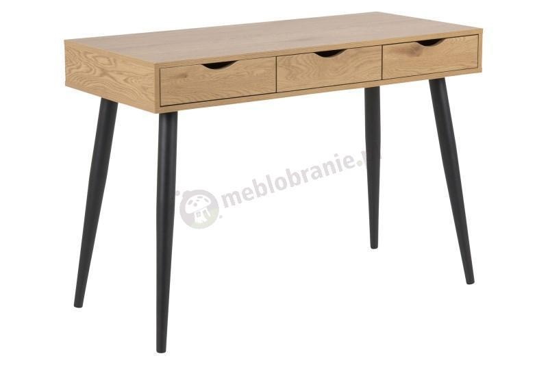 Actona Neptun drewniane biurko z szufladami i czarnymi nogami