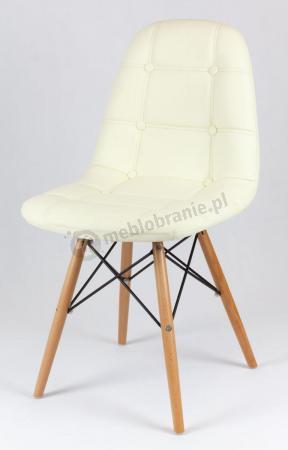 Krzesło tapicerowane na drewnianych nogach KS008 Kremowe