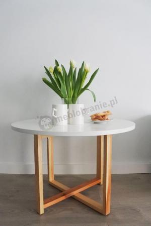 Okrągły Stolik Kawowy Biały Skandynawski Crossdes 68