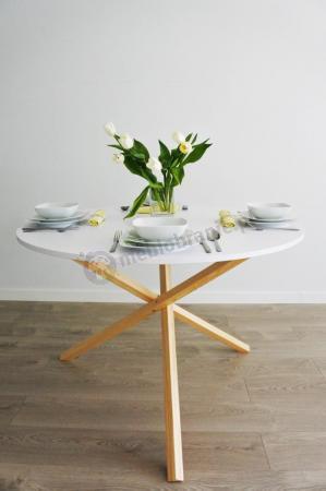 Okrągły stół jadalniany biały skandynawski Triple-115