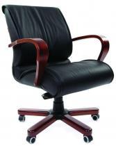 Ergonomiczny fotel biurowy drewniany skóra Chairman 444 WD