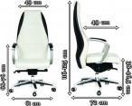 Fotel biurowy skóra biało-czarny luksusowy Chairman Basic - wymiary