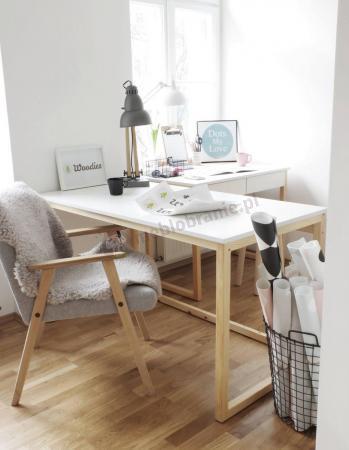 Biurko minimalistyczne białe skandynawskie Des-3 138 cm