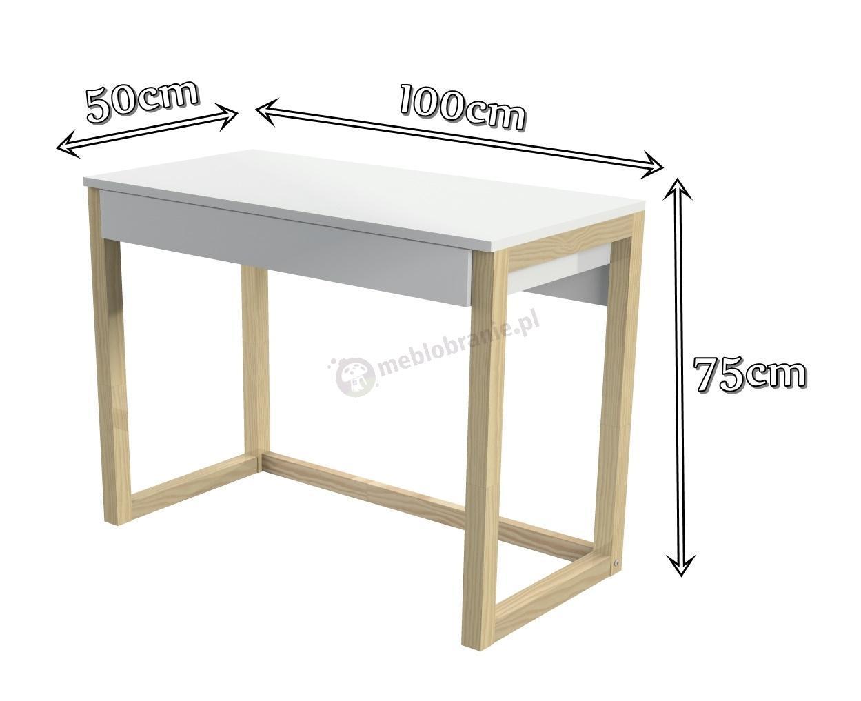 Białe biurko skandynawskie Womeb - wymiary