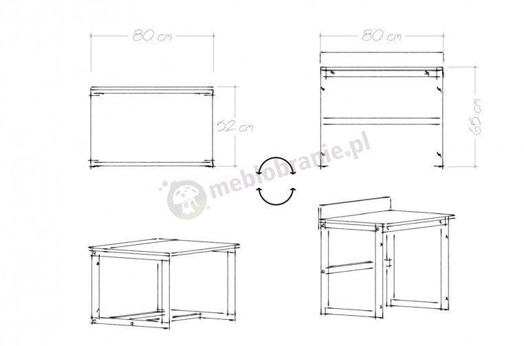 Wymiary regulowanego biurka Des Flip