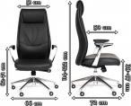 Luksusowy fotel biurowy z ekoskóry Chairman Vista Eco - wymiary