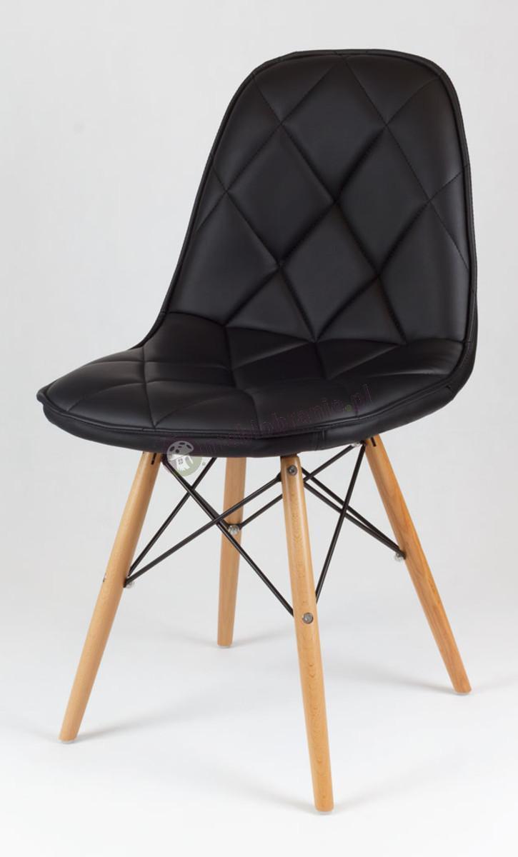 Czarne Krzesło z Ekoskóry na Drewnianych Nogach KS007