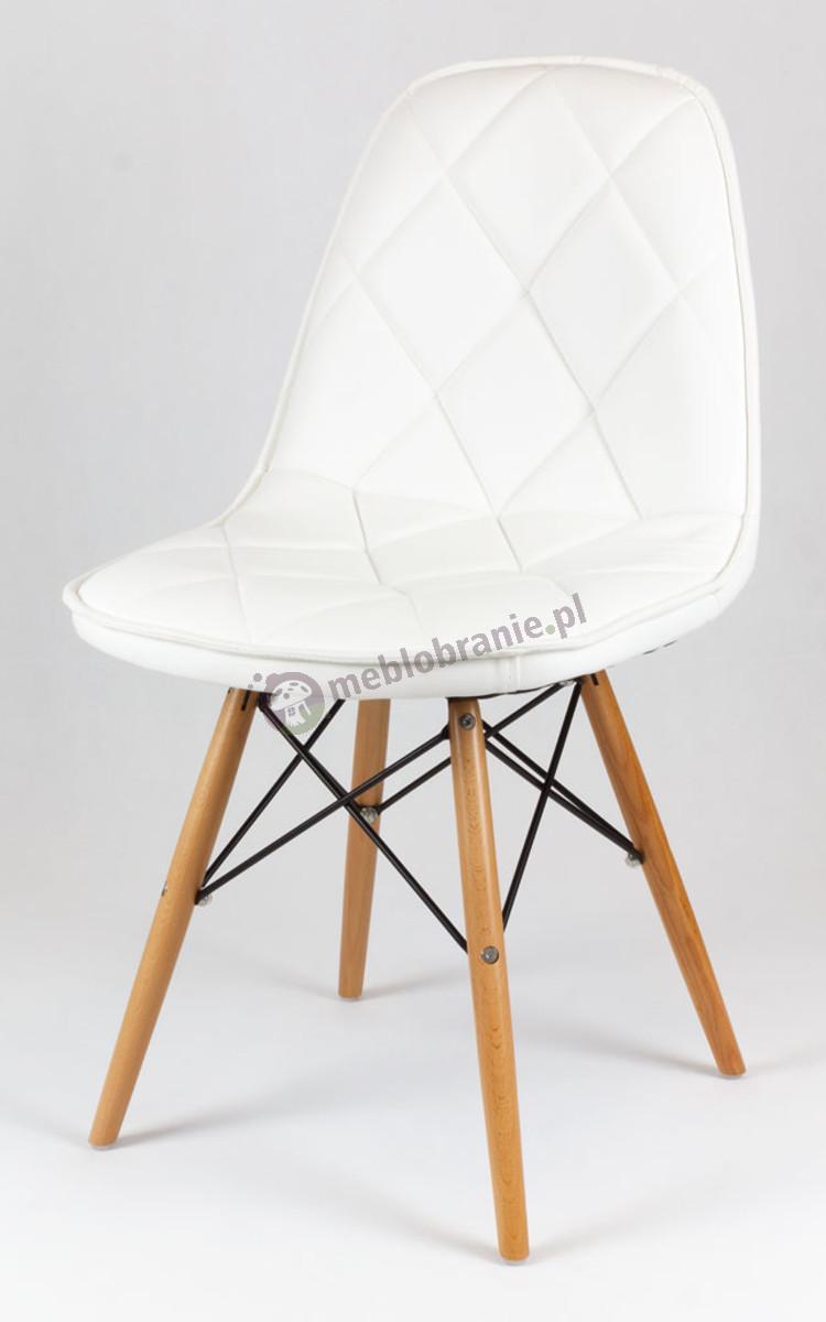 Białe Krzesło z Ekoskóry na Drewnianych Nogach KS007