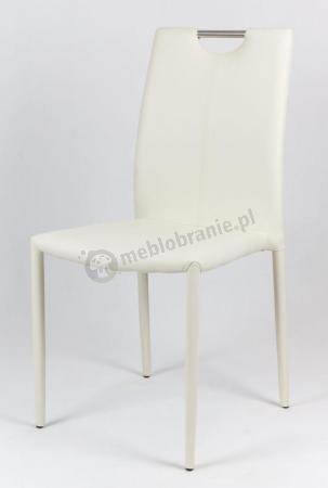 Kremowe krzesło tapicerowane ekoskórą KS006