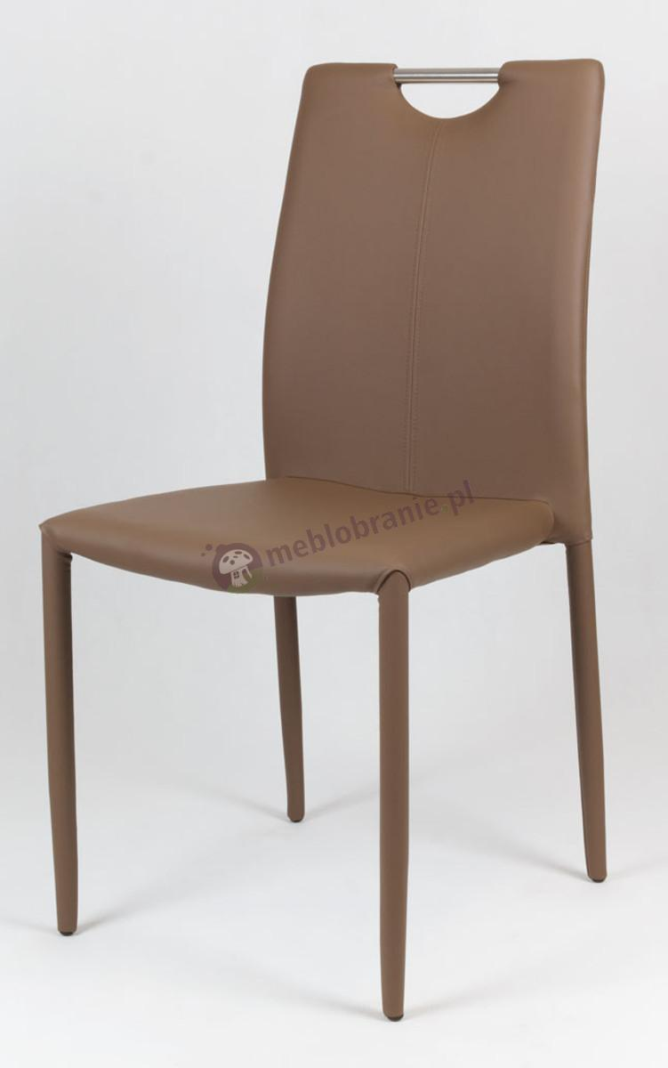 Brązowe Krzesło z Ekoskóry na Metalowym Obszytym Stelażu KS006