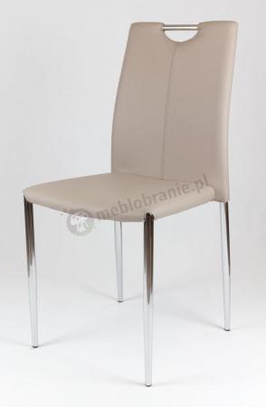 Krzesło beżowe na chromowanym stelażu KS006