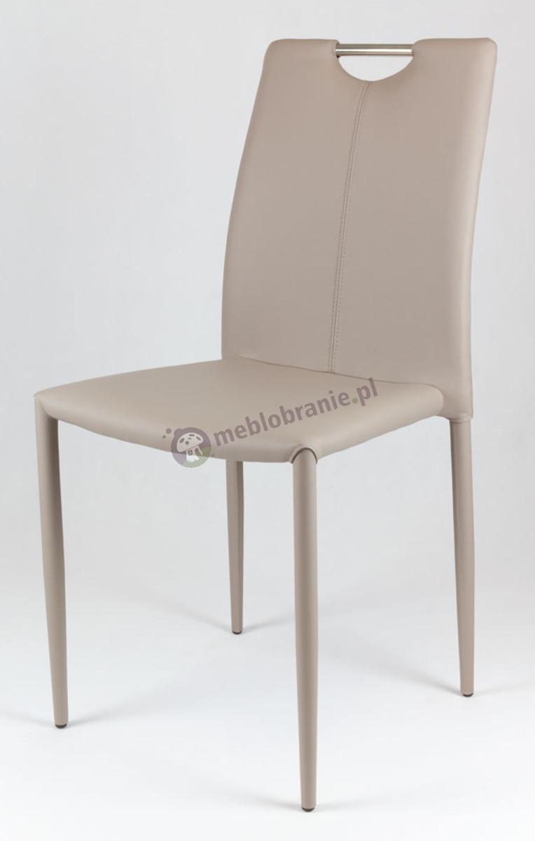 Beżowe Krzesło z Ekoskóry na Metalowym Obszytym Stelażu KS006
