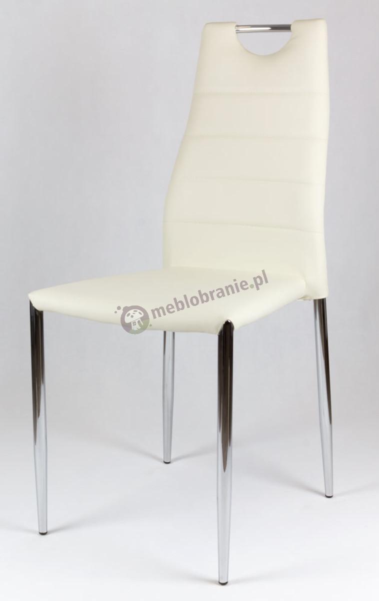 Kremowe Krzesło z Ekoskóry na Stelażu Chromowanym KS005