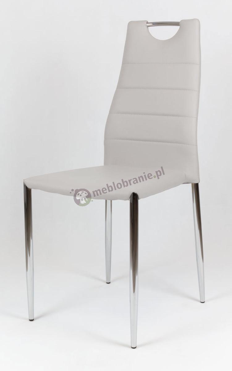 Jasnoszare Krzesło z Ekoskóry na Stelażu Chrom KS005