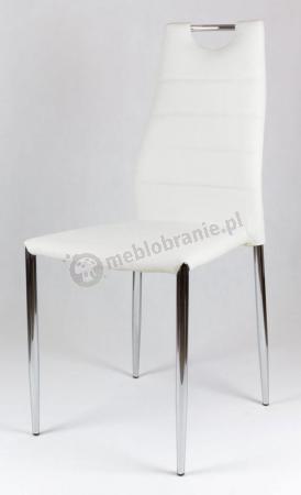 Krzesło do jadalni białe tapicerowane ekoskórą KS005