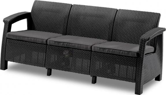 Wyprzedaż - Sofa ogrodowa Corfu Love Seat Max - grafitowa