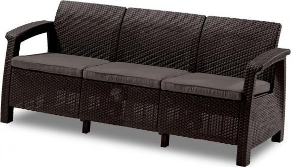 Wyprzedaż - Sofa 3 osobowa Corfu Love Seat Max - brązowa