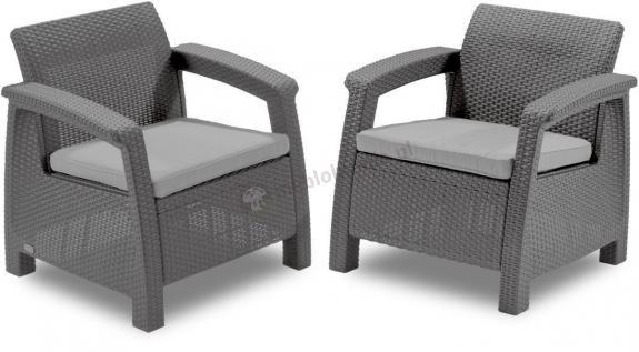 Wyprzedaż - Zestaw foteli CORFU Duo Curver Cappucino