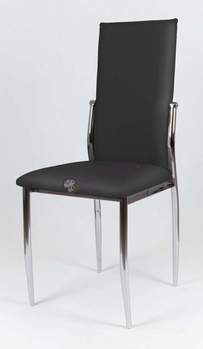 Czarne Krzesło z Ekoskóry na Stelażu Chromowanym KS004