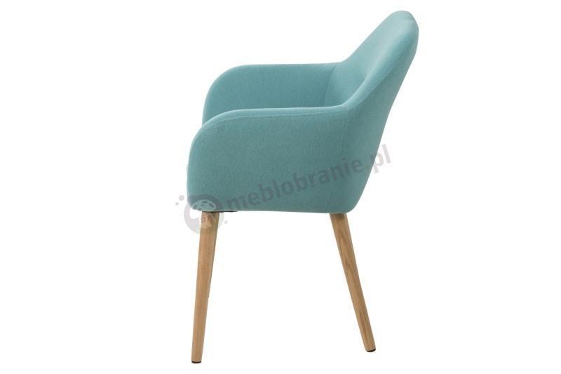 Actona Emilia krzesło tapicerowane z podłokietnikami turkusowe - widok z boku