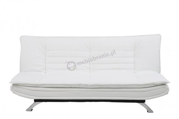 Actona Faith nowoczesna sofa rozkładana biała imitacja skóry
