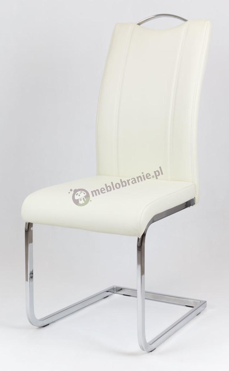 Kremowe Krzesło z Ekoskóry na Stelażu chromowanym KS003