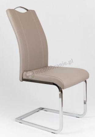 Beżowe Krzesło z Ekoskóry na Stelażu Chromowanym KS003