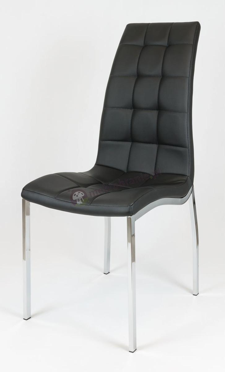 Czarne Pikowane Krzesło z Ekoskóry Chrom Stelaż KS002