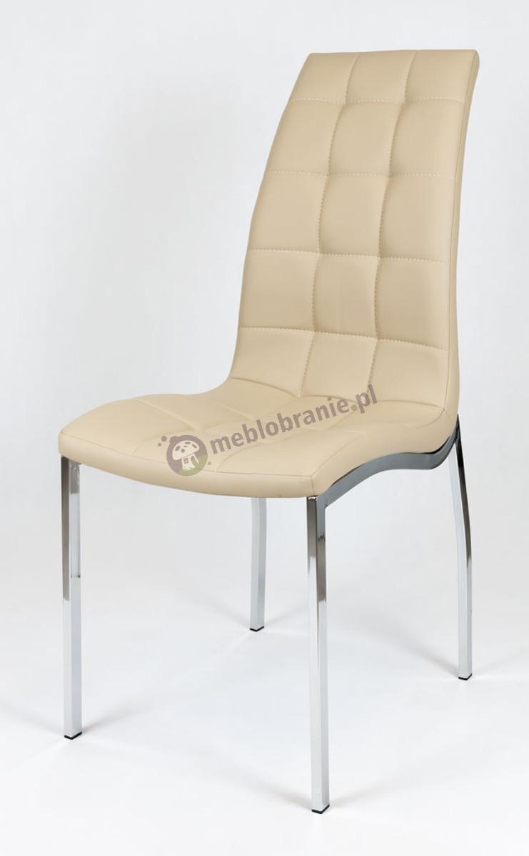 Beżowe Pikowane Krzesło z Ekoskóry Chrom Stelaż KS002