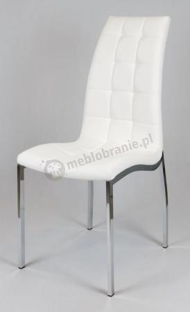Białe pikowane krzesło z ekoskóry metalowe nogi chrom KS002