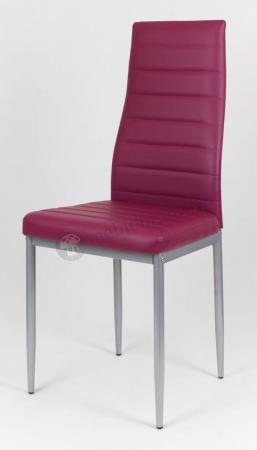 Purpurowe krzesło z ekoskóry malowane nogi KS001