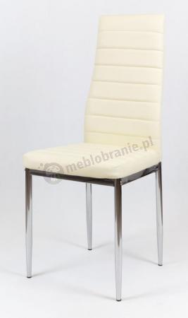 Krzesło kremowe tapicerowane chromowane nogi KS001