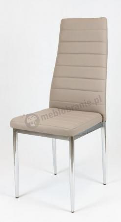 Beżowe krzesło z chromowanymi nogami KS001