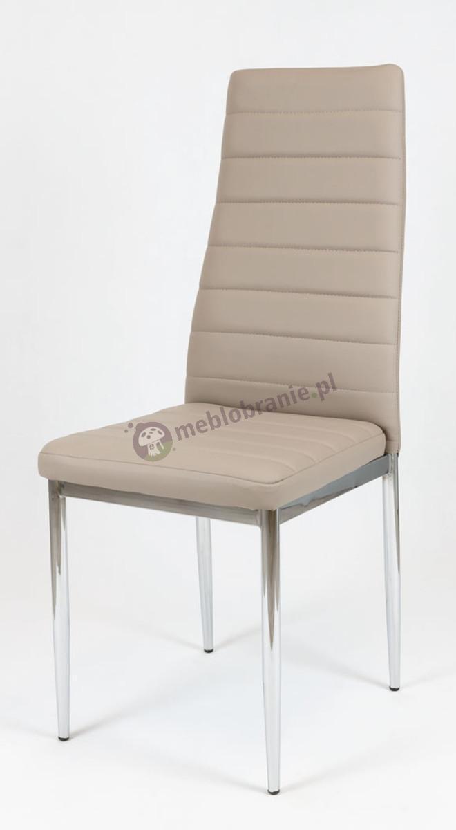 Beżowe Krzesło z Ekoskóry na Stelażu Chromowanym KS001