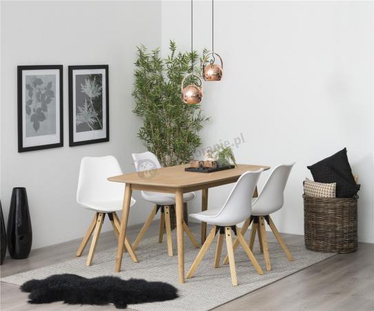 Actona skandynawski zestaw do jadalni z białymi krzesłami