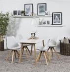 Actona skandynawski zestaw do jadalni z białym stołem i krzesłami
