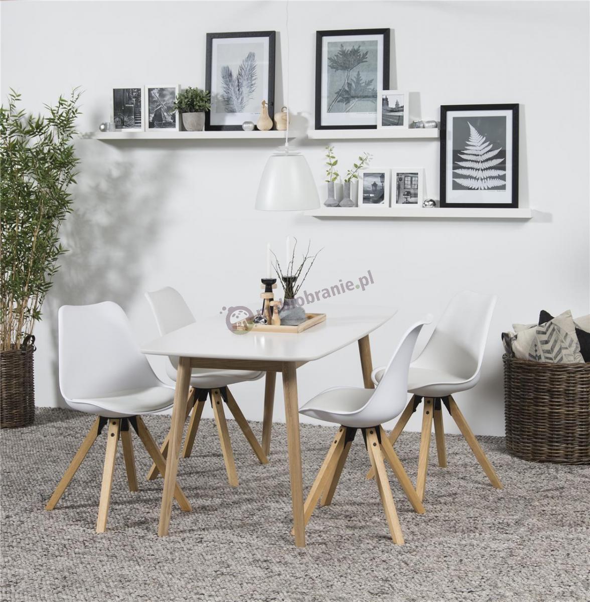 Actona biały stół z krzesłami do salonu Nadim Biały-Biały