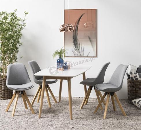 Actona stół i 4 krzesła styl skandynawski Nadim Biały-Jasny Szary