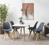 Actona stół i krzesła w stylu skandynawskiem Nagano Dima Biały-Szary