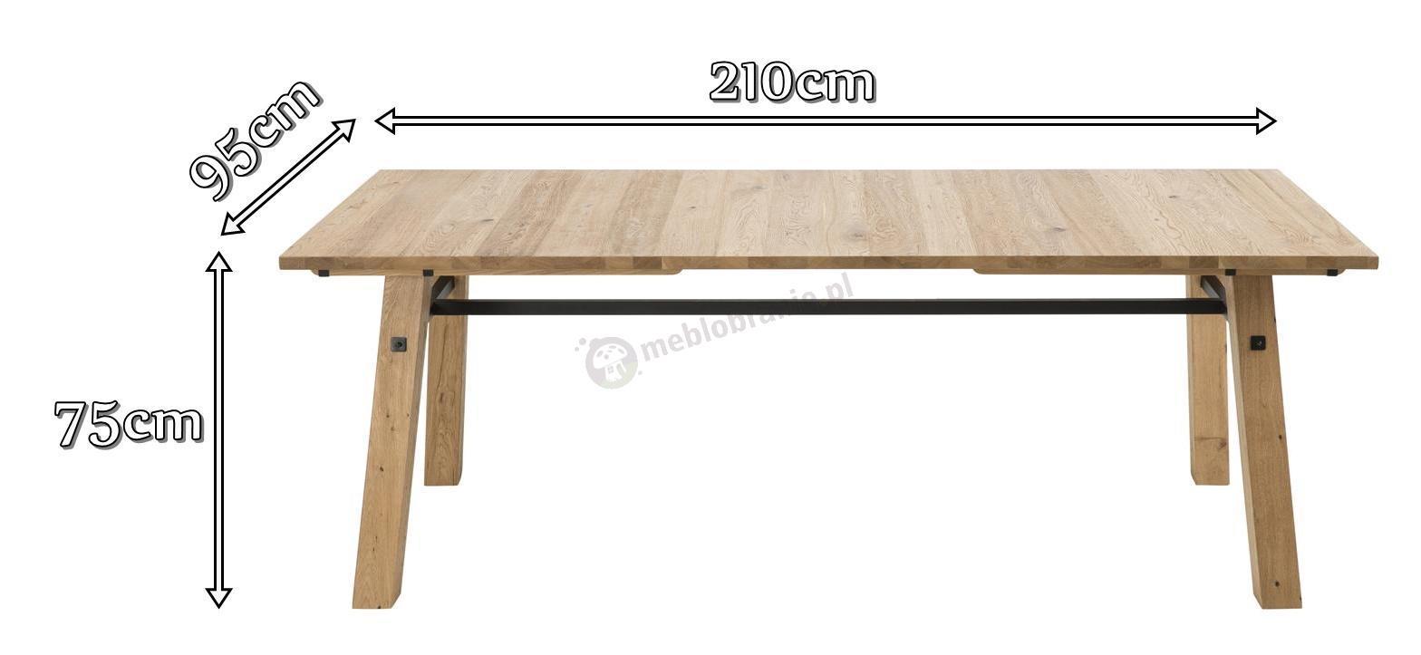 Actona Stockholm stół dębowy nowoczesny - wymiary