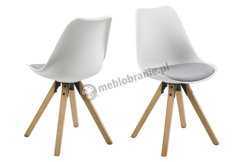 Actona Dima krzesło plastikowe białe z szarą poduszką