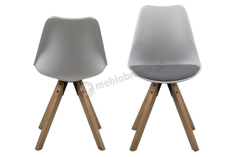 Actona Dima krzesło plastikowe z szara poduszką