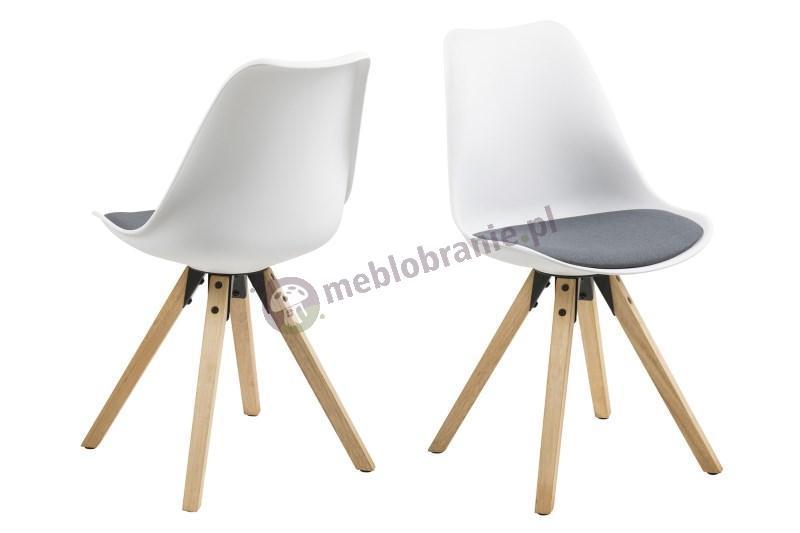 Actona Dima krzesło z tworzywa sztucznego białe z ciemno szarą poduszką