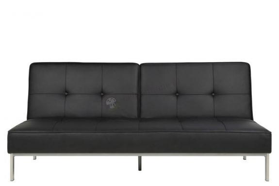 Actona Perugia elegancka sofa rozkładana czarna ekoskóra