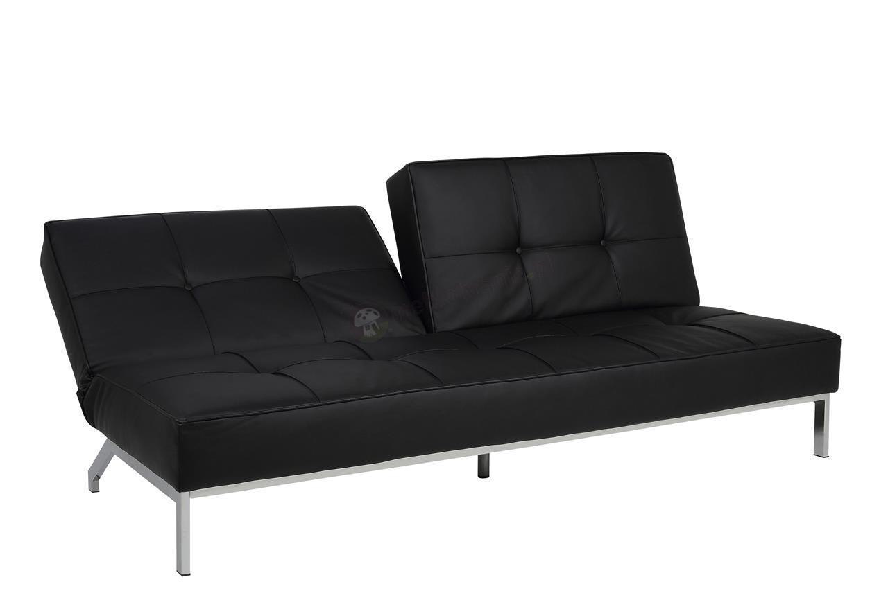 Nowoczesna sofa rozkładana Perugia Actona czarna ekoskóra