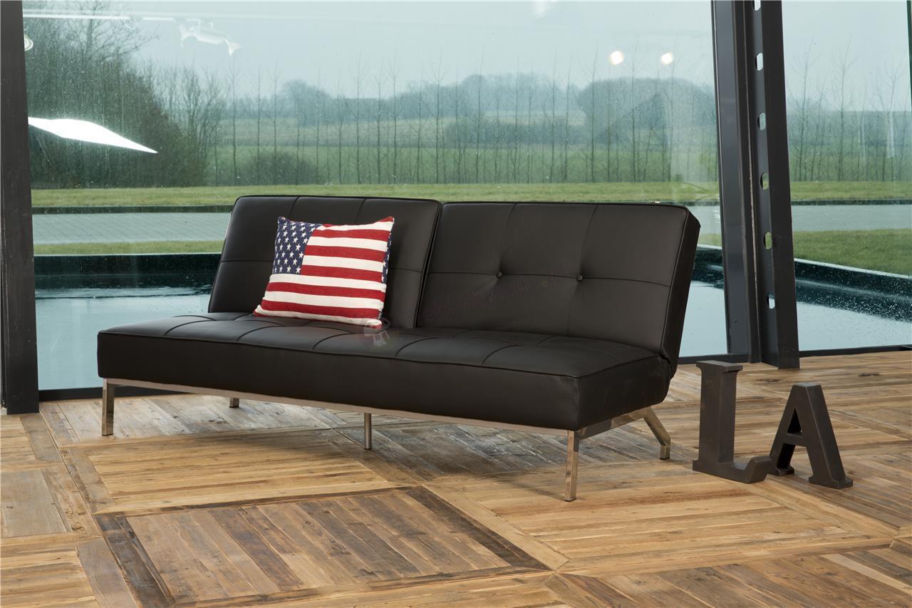 Elegancka rozkładana sofa Perugia czarna ekoskóra